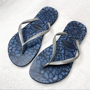 HAVAIANAS Blue and Silver Flip Flops